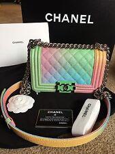 Authentic 100% RARE!! BOY CHANEL  Painted Caviar Flap Rainbow Mini Crossbody Bag