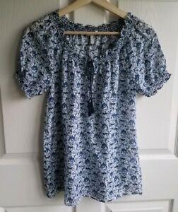 Joie-Womens-Silk-Blend-Blue-Elephant-Printed-Masha-Blouse-Top-Shirt-Size-XS