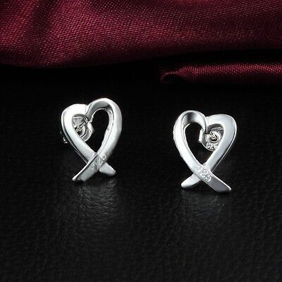 1 Pair Silver Plated Earrings Studs Love Heart Size 10*9 mm Fashionable Gift e