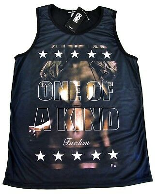CRANK Sublimation Tank Top T-shirt FREEDOM USA Flag America Vest Adult Men NWT