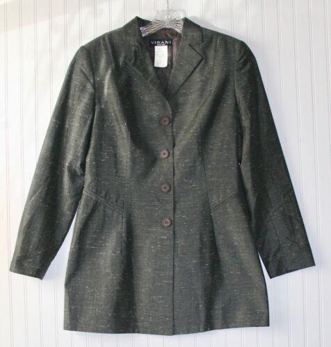 Women's size 8 medium dressy coat dark gray, silk