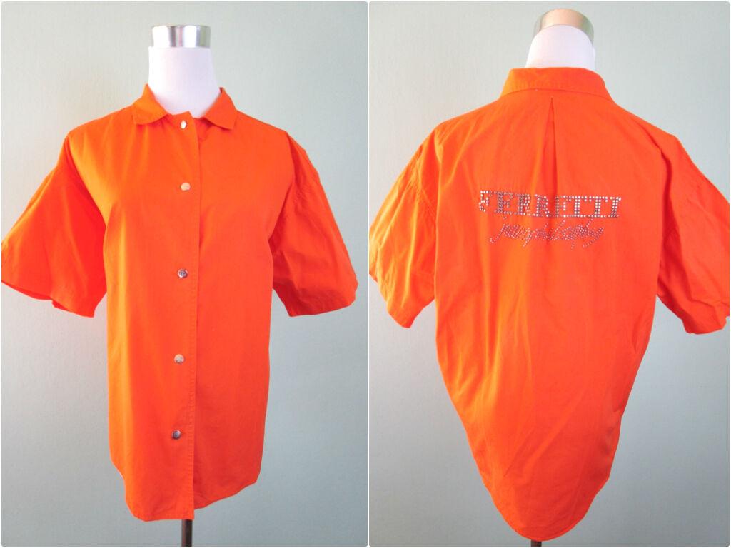 FERRETTI ITALY Woman Vtg 90s Fashion Designer orange Oversized Shirt sz 14 AW16