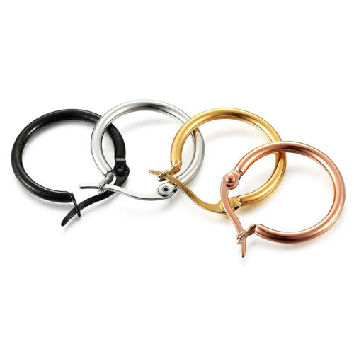 Non-allergenic Women/'s Black Silver Rose Gold Plated Round Hoop Drop Earrings