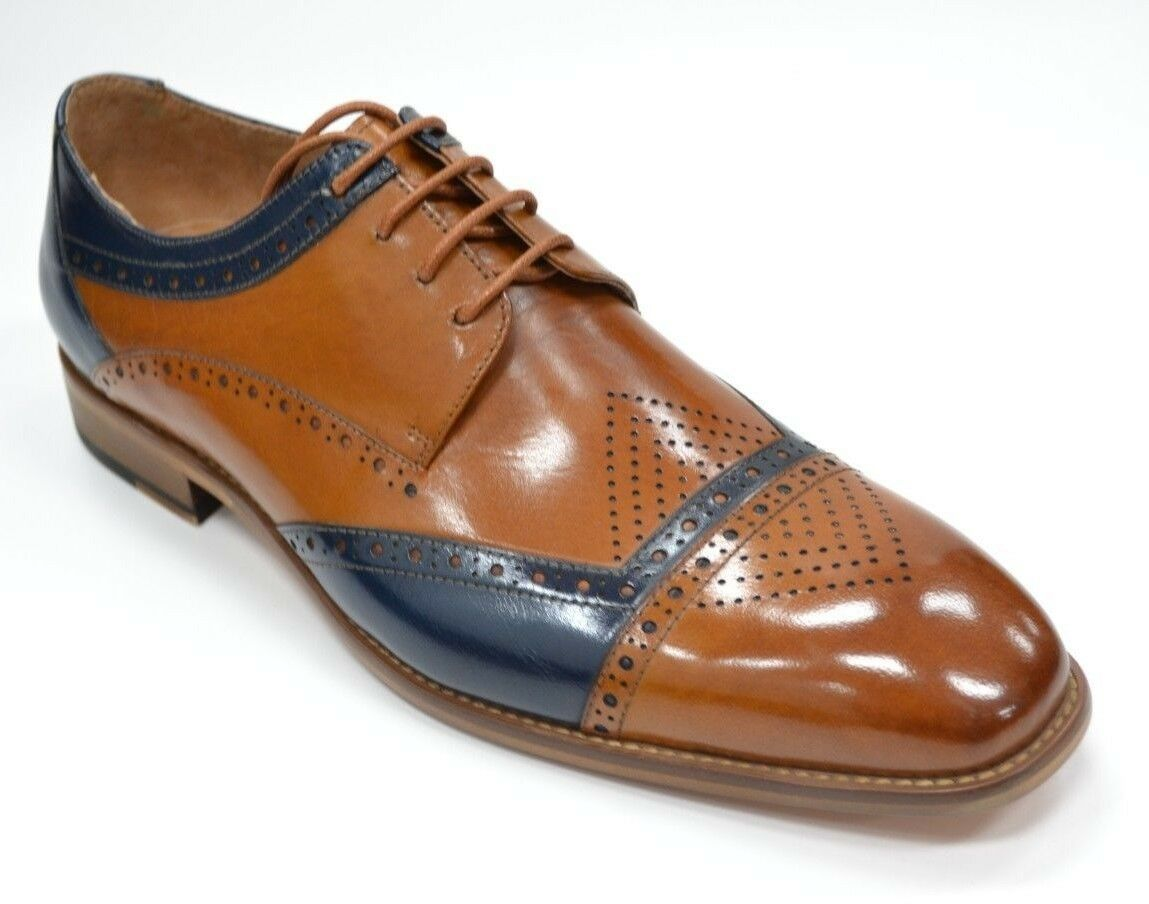 Zapatos para hombre Steven Land SL0066 Azul Marino Y Bronceado puntera Oxford