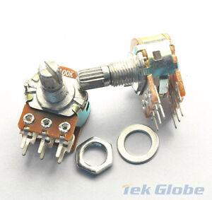 10pcs 10K ohm B10K Dual Stereo Potentiometer Pots Shaft S 15mm 6Pin