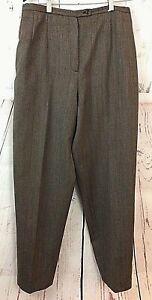 100-Wool-Lined-Harve-Bernard-Brown-Women-039-s-Career-Dress-Pants-Slacks-Size-12