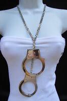 Women Necklace Long Fashion Big Silver Metal Hand Cuffs Chains 20 Drop