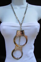 Women Necklace Long Fashion Big Silver Metal Hand Cuffs Chains 20 Drop