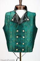 Steampunk Vest Jade Green & Black Brocade Double Breasted Victorian Vest