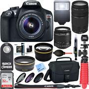Canon T6 EOS Rebel DSLR Camera 18-55mm & 75-300mm 4 Lens 32GB Bundle/Kit