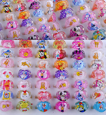 5/30/50X Wholesale Lot Jewelry Mixed Lot Resin Lucite Children/Kid Rings 14-16mm