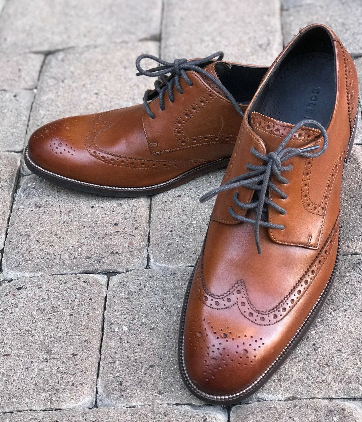 NEW Men's SZ 10 Almond  Brown Leather COLE HAAN Lace-up Dress shoes NORSTROM