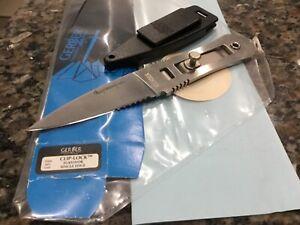 "Gerber Clip lock survival knife, NIB, single edge w partial serrations, ""special"