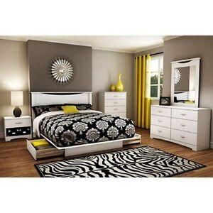 Details about 4 Piece White Queen Full Bedroom Furniture Set Bed Storage  Dresser Nightstand
