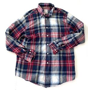 Brooks-Brothers-346-Premium-Red-Button-Down-Plaid-Casual-Shirt-Mens-Medium-M
