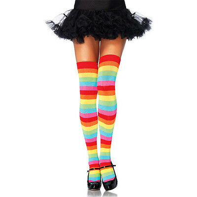 Long Stockings Women Stripey Stockings High Tights Rainbow Colorful Stockings