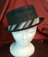 Pugs Gear Rush Black With Striped Band 100% Paper Homburg Hat One Size