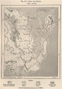 Suva and Levuka Fiji The Fiji Islands 1885 old antique map plan