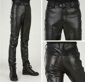 Men Leather Pants Slim Fit Fashion Korea Motorcycle Trousers Skinny