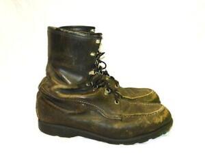 Vintage Size 11 Mens Dark Brown Leather Cush-N Crepe Du-flex Work Hunting Boots