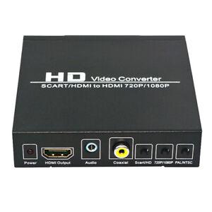 SCART + HDMI vers HDMI HD Video Converter Box 720P 1080P 3.5 Mm Coaxial Adaptateur audio
