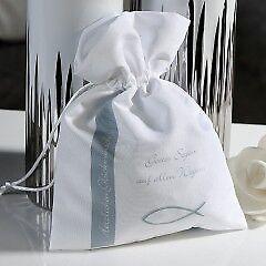 Kommunion Konfirmation 1 x Geschenkbeutel  Polyester silber//weiß B15 cm