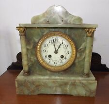 Antique French Green Marble Case Clock Medaille D'Argent Works for Restoration