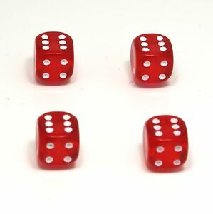 Set-of-Four-Red-with-Pink-Inserts-Dice-Dust-Caps-X4-80-039-s-Retro-Valve-Caps