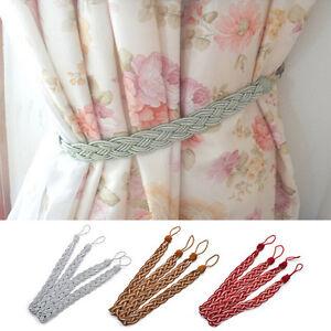 2x-Vintage-fenetre-Rideau-corde-frange-embrasses-cravate-dos-decor