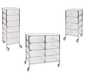 rollwagen rollcontainer badwagen schubladenwagen kunststoff chrom wei hochglanz ebay. Black Bedroom Furniture Sets. Home Design Ideas