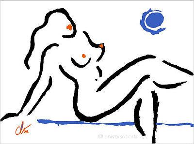 JACQUELINE DITT- Hot Girl Blue Moon Original Grafik handsigniert Akt Nude Bilder