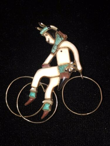 Old Pawn Zuni Sterling Silver Inlay Hoop Dancer Br