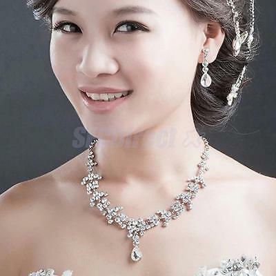 Bridal Wedding Party Jewelry Set Crystal Rhinestone Diamante Necklace & Earrings