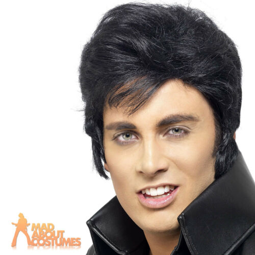 Elvis Presley Wig Black 50s Quiff Officially Licensed 1950s Mens Male Wig New