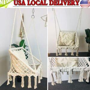 Macrame Hammock Chair Hanging Cotton Seat Rope Outdoor Tassel