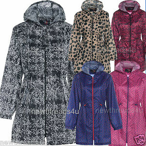 Womens-Ladies-Printed-Patterned-Rain-coat-Parker-Kagool-Kagoul-pac-away-mac