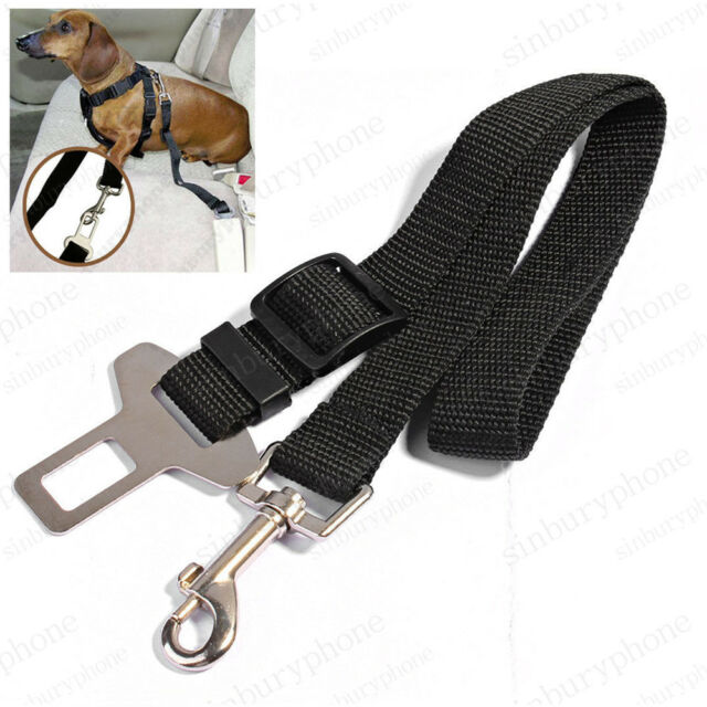 DOG PET CAR SAFETY SEAT BELT HARNESS RESTRAINT ADJUSTABLE LEAD TRAVEL CLIP BLACK