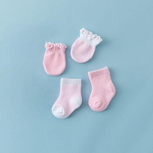 2 pair socks Cotton Baby Boy Girl Toddler Anti Scratch Mitten 2 pair gloves