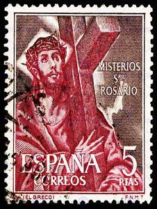 Image Is Loading POSTAGE STAMP SPAIN 5 PESETAS JESUS CROSS BEARING
