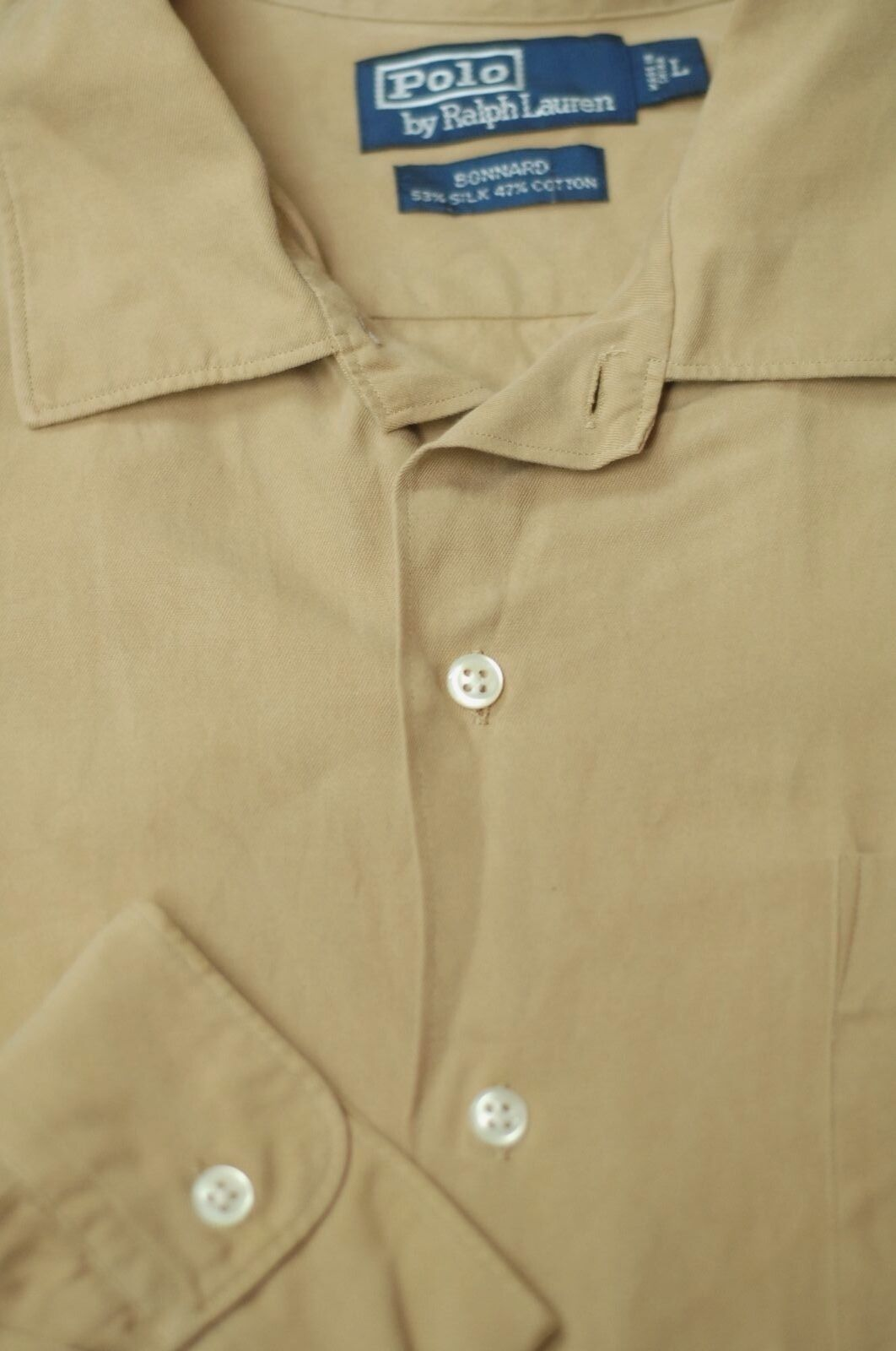Polo Ralph Lauren Men's Khaki Beige Silk & Cotton Casual Shirt L Large