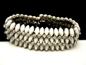 Classic-Vintage-8-034-x1-1-4-034-Wide-Silvertone-Milk-Glass-Rhinestone-Bracelet-A33