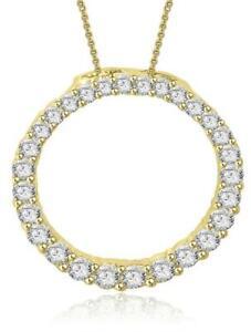 I1-G-Eternity-Circle-Pendant-Necklace-0-80-Ct-Natural-Diamond-14K-Yellow-Gold