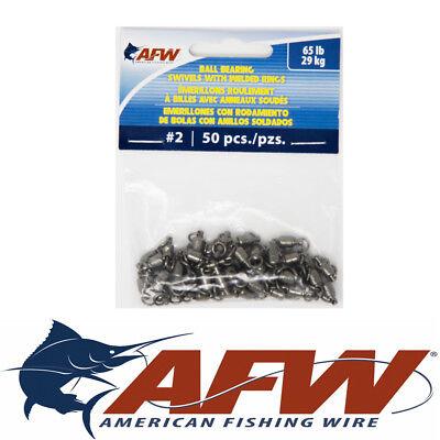 #2 65lb AFW American Fishing Wire Ball Bearing Swivel BB Swivels Leaders QTY 50