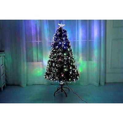 Led & Fibre Optic 150cm Christmas Xmas Tree Lights Pre Lit Green Decoration 5Ft