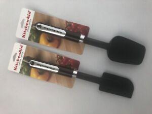 Scraper /& Spoon Silicone Spatula New KitchenAid Black Set of 2 Spatulas