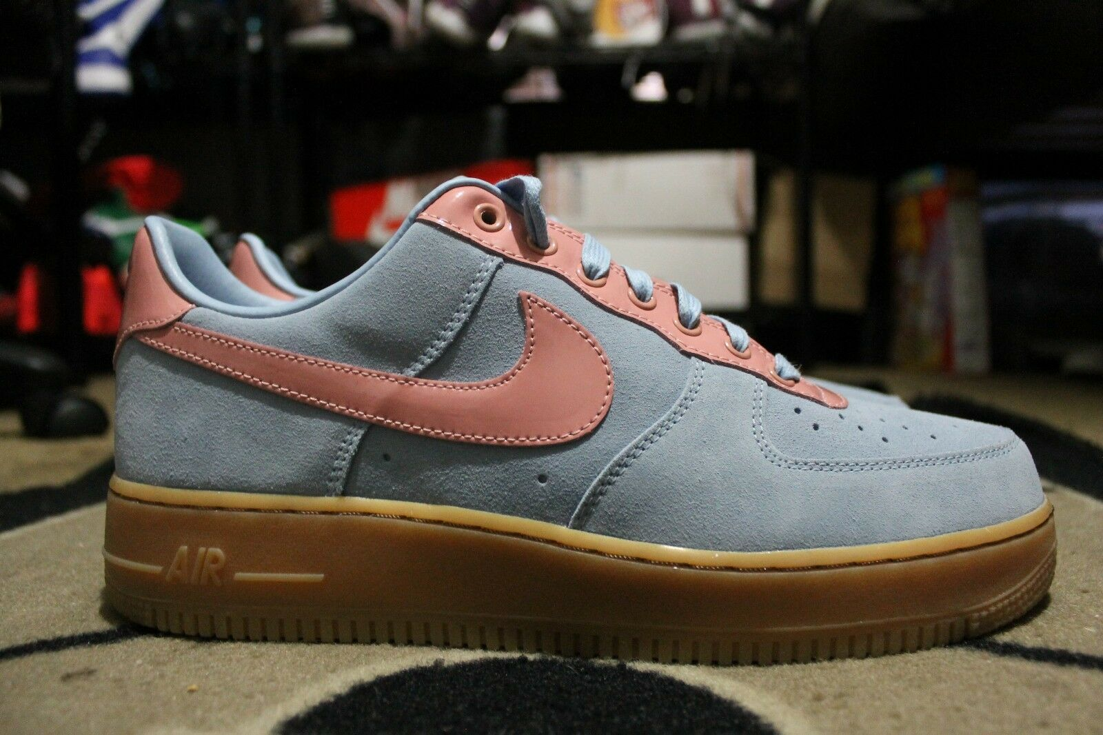 New Nike iD Air Force One 1 Low Premium Gum Bottom Size 10 Light Blue / Pink