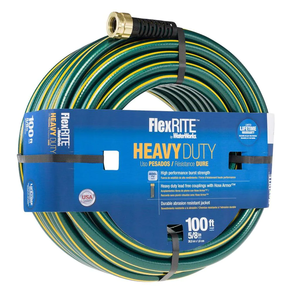 FlexRITE 5/8 in. Dia x 100 ft. Heavy Duty Water Hose Burst 400 PSI Made in USA