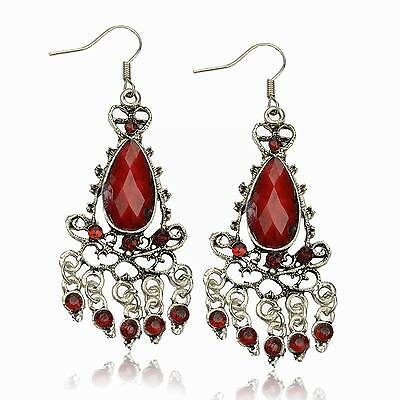 VTG Red Diamante Teardrop Chandelier Tassel Fringe Dangle Bridal Gem Earrings