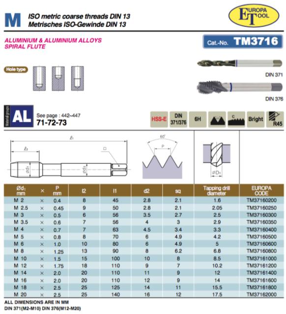 M3 x 0.5 SPIRAL FLUTE TAP HSS-E COBALT 6H RED RING DIN371 TM15300300 EUROPA TOOL