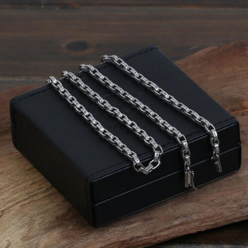 Necklace 100/% 925 Sterling Silver Jewelry Long Vintage Square Letters Chain GN4